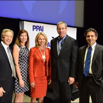After keynote presentation at the Summit, CPSC Commissioner Marietta Robinson (center) met with (from left) Rick Brenner, MAS, CEO of supplier Prime Resources Corp.; PPAI Public Affairs Director Anne Lardner-Stone; Gene Geiger, MAS, president of distributer Geiger; and PPAI President and CEO Paul Bellantone, CAE.
