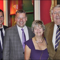 (From left) Matt Franks, in-coming BPMA chair, stands with Neal Beagles, Chair Viv Blumfield and MP Brian Binley at the BPMA's Patron's Dinner