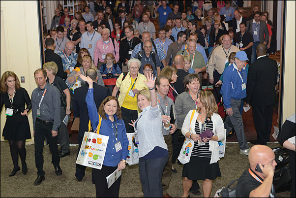 Attendees stream onto the show floor on the Expo's opening day.