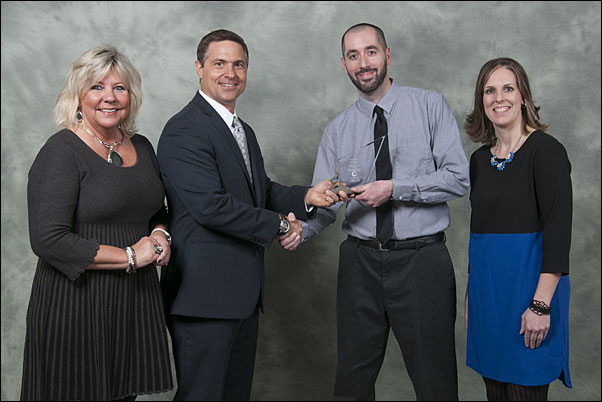 HALO Supplier Rep of the Year recipient Dave Logero, Leeds key account manager (center right), received his award from (from left) Julie Harms, HALO supplier relations; Terry McGuire, HALO senior VP of marketing and supplier relations; and Nicki Staats, HALO supplier relations.