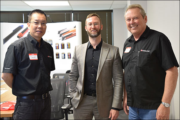 Michael Flusche, North Texas deputy regional director for U.S. Sen. Ted Cruz (center) visited with David Zheng (left), president and Steven Meyer, MAS, vice president of sales and marketing, during the Riteline LLC open house on May 21.