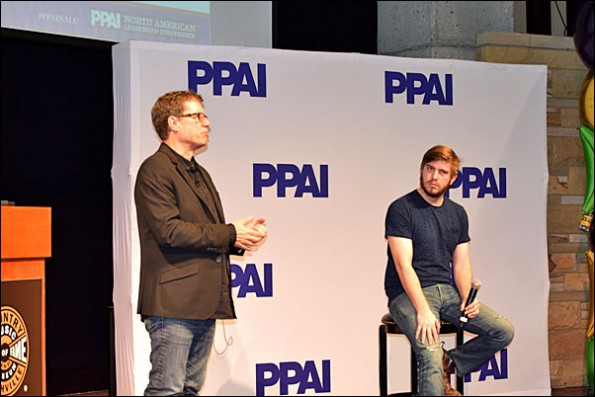 Music innovators Don Van Cleave (left) and Kevin Grosch delivered an opening session exploring the parallels between the music and promotional products industries.