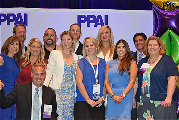 PPAI's Tina Filipski, far left, and Paul Bellantone, far right, presented the PPB Rising Stars honors to this year's recipients (from left, back row) Adam Taylor, Ray Jimenez, Michael Marias and Jill Albers; (middle row) Megan Zezzo; Jessica Hutwelker, MAS; Ashley McCune; Sasha Pirrie and Andrea Jaeckels, MAS; (front row) Kirby Hasseman.