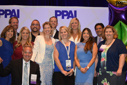 PPB's 2015 Rising Stars were recognized at a reception and dinner in their honor during the opening night of the PPAI North American Leadership Conference in Nashville, Tennessee, on August 9. Presenters Tina Berres Filipski (far left) and Paul Bellantone (back, right) presented each with a stylish, commemorative watch generously donated by supplier SELCO.