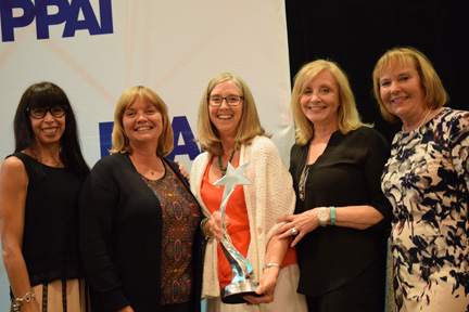 PPAI 2015 Woman of Achievement Award Winner Sherri C. Lennarson, MAS (center) with four former winners: Roni Wright, MAS, The Book Company; Jo-an Lantz, MAS, Geiger; Margie Price, MAS, Premium Promotions; and WOA nominator Maribeth Sandford, CAS, BAG MAKERS, Inc. at the PPAI Women's Leadership Conference in New Orleans, Louisiana, in July.