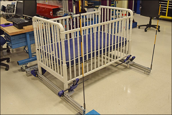 The Fatigue and Cyclic Testing Lab's crib shaking machine is designed to test a crib structure's ability to withstand an active toddler.