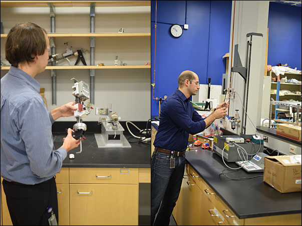CPSC testing center engineers (left) demonstrate a strain gauge staff created to test cigarette lighters and (right) the tension testing done on toys and other items in the Children's Product Testing Lab.