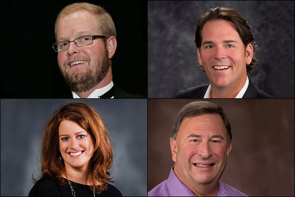 PPEF's incoming trustees are (clockwise from top left) Drew Davis, MAS, Specialty Incentives, Inc.; Brian Porter, ProTowels, Kanata & Superior Decorating; Stephanie Preston, HALO Branded Solutions; and Wayne Greenberg, MAS, JB of Florida/Geiger.