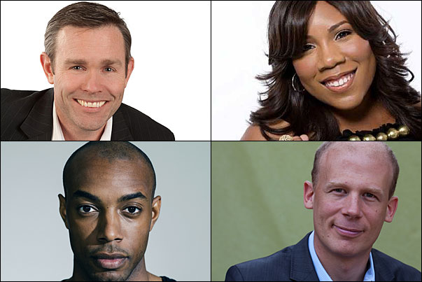 Monday, January 11's speakers include (clockwise from top left) Patrick Henry, Melinda Doolittle, Josh Tickell and Casey Gerald.