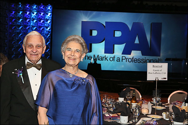 Don Lafferre, CAS, and his wife Dennise in Las Vegas at The PPAI Expo's Chairman's Leadership Dinner, where he was inducted into the PPAI Hall of Fame.
