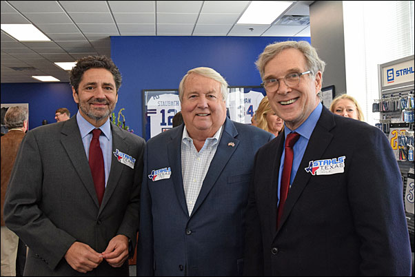 PPAI President and CEO Paul Bellantone, CAE (left) and PPAI Board Chair Rick Brenner, MAS+, here with Stahls Executive Chairman of the Board Ted Stahl, were among the guests at the facility's grand opening.