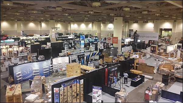 The PPPC National Convention trade show floor comes together in the Metro Toronto Convention Centre.