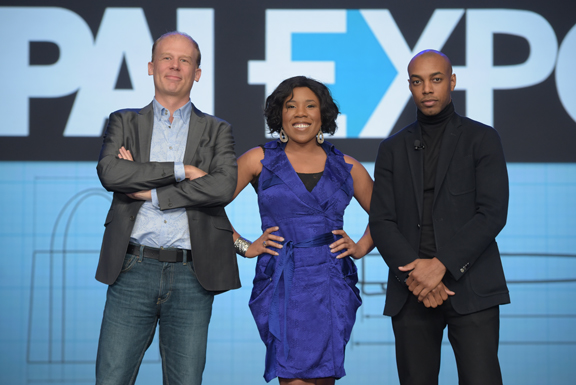 In a joint session and individual breakouts, Wednesday's General Session speakers (from left) Josh Tickell, Melinda Doolittle and Casey Gerald provided solid take-away value on reaching goals, solving life's big problems and understanding Millennials.