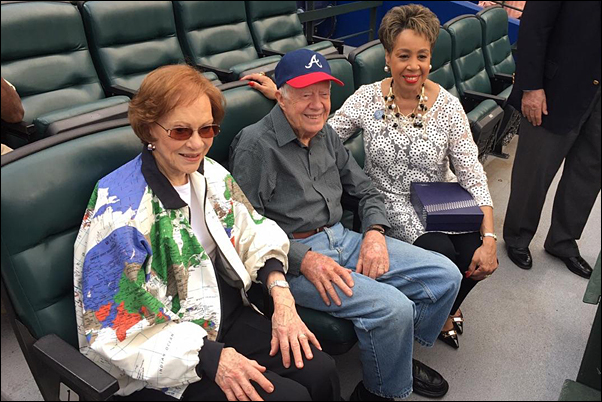 Griffin with former President Jimmy Carter and his wife, Rosalynn, who were attending the Jackie Robinson Day festivities.