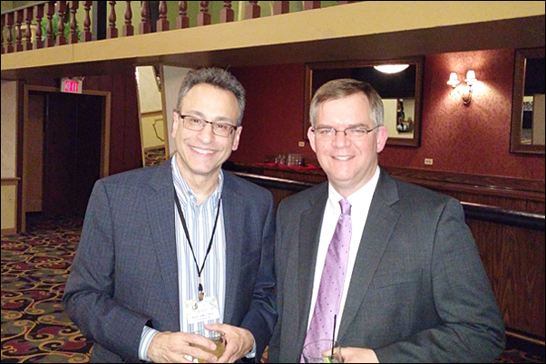 Bankers Advertising CEO David Bywater, MAS (right), and sales partner Kirby Soffer at the distributor's national sales meeting.