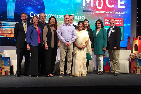 McLean joins his fellow IAEE board members on stage. All took part in speaking at the event and moderating the conference's education sessions.