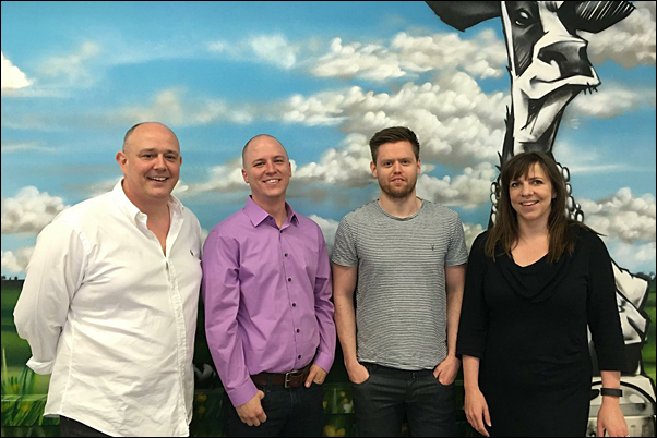 Barnett (second left), met with Outstanding Branding's Sales Director Andy Thorne, Sales Manager Chris Dawson and Managing Director Sarah Penn at their offices in London.
