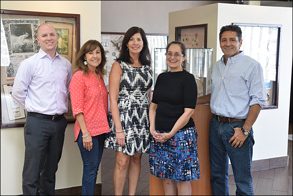 Dr. Marion Steele (second right), an at-large board member of the Australasian Promotional Products Association, visited PPAI headquarters, where she met with (from left) Diversity Development and Engagement Manager Seth Barnett, Editor Tina Berres Filipski, Public Affairs Director Anne Stone, and President and CEO Paul Bellantone, CAE, among others.