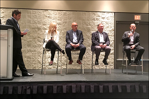 PPAI President and CEO Paul Bellantone, CAE (left) moderates a panel discussion with Snuz USA Vice President of Sales Brittany David; Carpe Diem Sales & Marketing Co-Founder Mike Giordano; JB of Florida President Wayne Greenberg, MAS; and SAGE President David Natinsky, CAS, on industry trends and outlook.