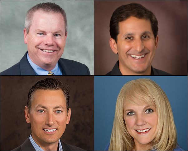 PPAI's 2017 board candidates include (top row, from left) distributors Mitch Rhodus, CAS, of HALO Branded Solutions, and Danny Rosin, co-owner of Brand Fuel, Inc.; and (bottom row, from left) suppliers Andrew Spellman, vice president of corporate channels at Victorinox Swiss Army, Inc., and Sharon Willochell, chief operating officer of Trimark.
