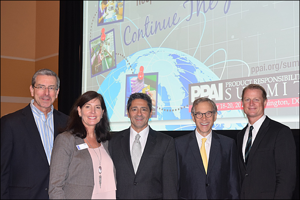 Product Responsibility Summit organizers, from left, Gene Geiger, MAS+, Anne Stone, Paul Bellantone, CAE, and Rick Brenner, MAS+ meet with CPSC Commissioner Joseph Mohorovic (far right).