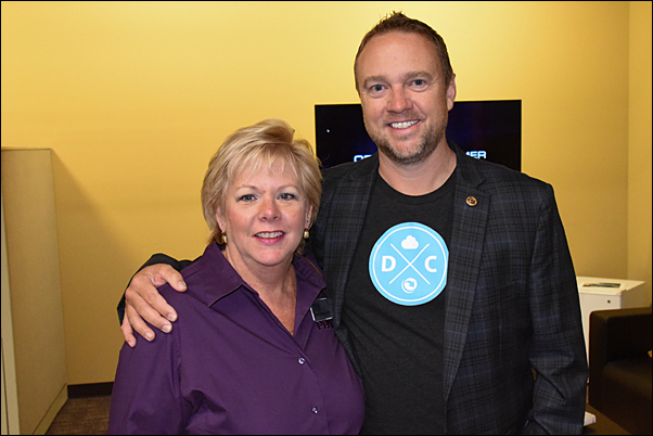 PPAI Director of Member Engagement and Regional Relations Carol Gauger, MAS, with DistributorCentral President Jason Nokes, during a visit to the service provider's offices.