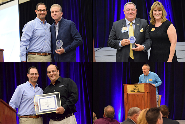 Top Left and Right: 2016 PPAI RAC Volunteers of the Year Ted Dennison, MAS, with RAC Board President Ryan Small, CAS, and George Jackson, with his nominator, TRASA Executive Director Patti Ward, were recognized at a dinner reception Tuesday. Bottom Left: Jonathan Riegel, MAS, SAAGNY's executive director, was presented with the 2016 Donna Hall Memorial Grant, that same evening. Bottom Right: PPAW's Brett Long shared his association's story during Tuesday night's IGNITE sessions.