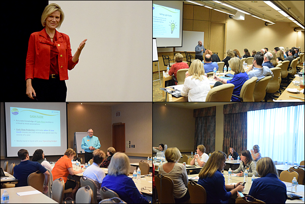 LDW's education line-up included a breakfast session on Wednesday with (Top Left) Shelley Row, professional engineer and former senior executive, and 25 education sessions with speakers and panelists from PPAI staff and from within and outside the promotional products industry.