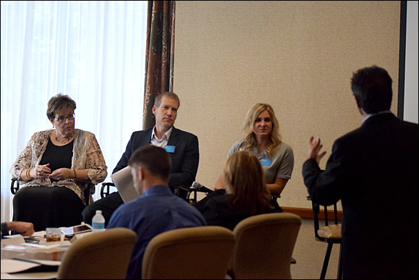 PPAI Board members Mary Jo Tomasini, MAS; Dale Denham, MAS+, and Brittany David take a question from PPAI President and CEO Paul Bellantone, CAE, during Tuesday's committee leadership training workshop.