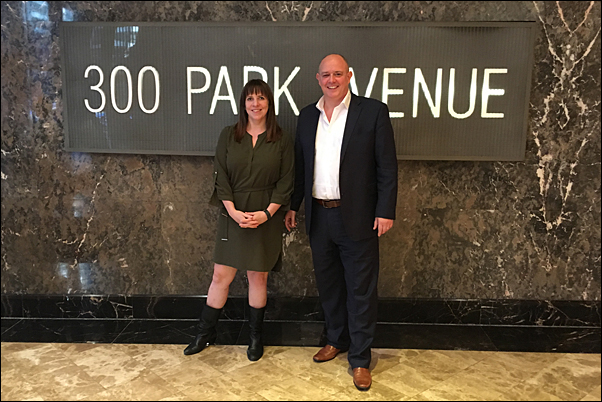 Outstanding Branding's Sarah Penn and Andy Thorne at the UK distributor's NYC office.
