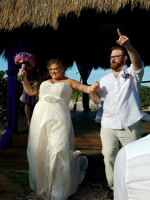 Gondran and his wife, Erica, celebrating their wedding in Mexico.