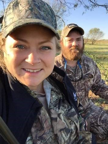 Neal and his wife take a selfie while hunting.
