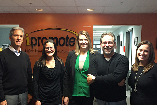 At Wayland, Massachusetts-based iPROMOTEu, Tucker (right) and Baker (left) met with the distributor's president, Ross Silverstein (second from right), Marketing and Communications Manager Lindsay Cornish (center) and Marketing Coordinator and Event Manager Ashley Perkins to discuss their upcoming meetings at The PPAI Expo 2017 and Expo East 2017, and marketing plans for the year ahead.