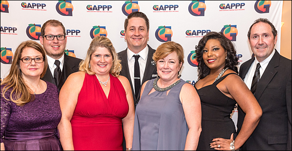 The GAPPP Board of Directors included (from left) Amy Rabideau, CAS, vice president; Chris Clark, CAS, treasurer; Michelle Sherwin, CAS, secretary; Keith Lofton, CAS, president; Lisa Bibb, MAS, executive director; Dosia Dixon, awards and recognition chair; and Jon Jackson, immediate past president. Not pictured is Liza Sachs, social committee chair.