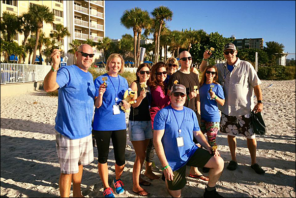 (From left) Colley, Thom, Rehder, Dau, Barnett, Cunningham and Heintz take advantage of what St. Pete Beach, Florida, has to offer.