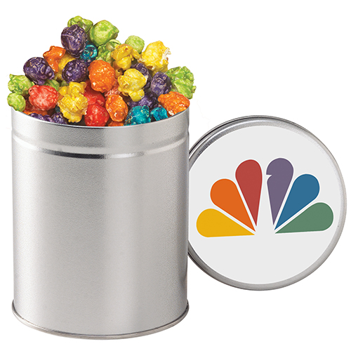rainbow popcorn in tin